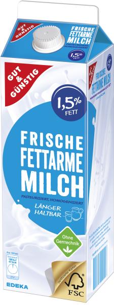 Gut & Günstig frische fettarme Milch 1L
