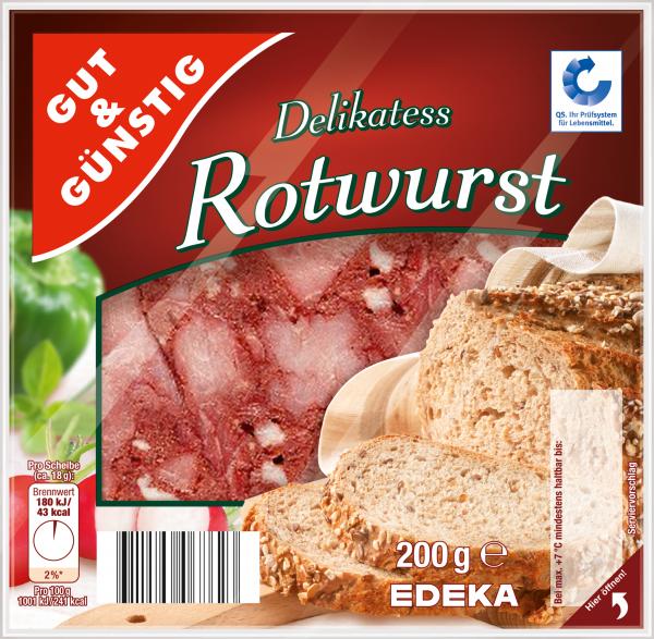 Gut & Günstig Delikatess Rotwurst, 200g