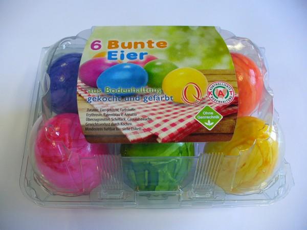 gekochte Eier marmoriert, Bodenhaltung, Größe M, 6er