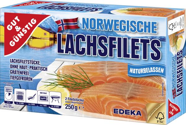 Gut & Günstig Norwegische Lachsfilets, 250g