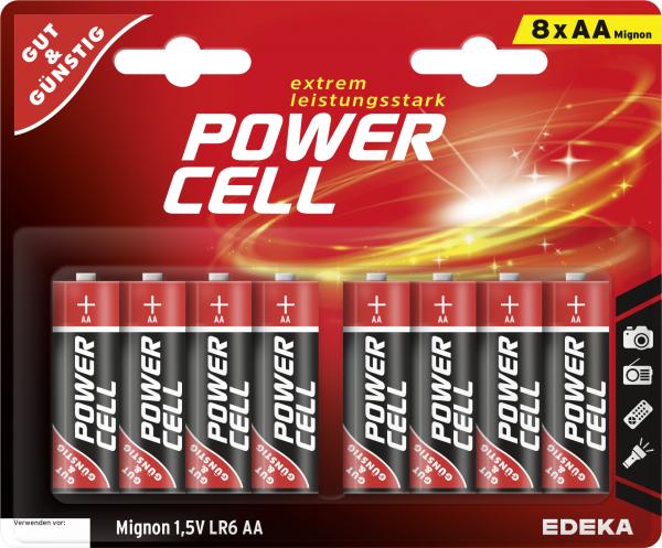 GUT&GÜNSTIG Power Cell Alkaline Mignon 1,5V LR6 8ST