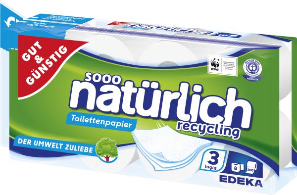 Gut & Günstig Toilettenpapier Recycling 3-lagig 8x200 Blatt