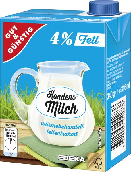 Gut & Günstig Kondensmilch 4% 340g