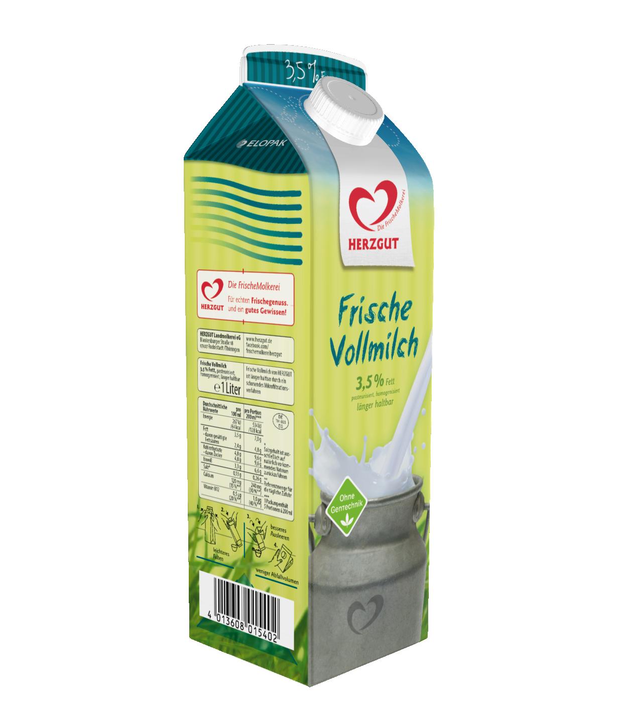 Herzgut frische Vollmilch 3,5% 1L | Milch & Milchgetränke ...